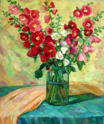 Irina Morenova. Bouquet of hollyhocks.