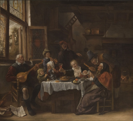 Jan Steen. Old singer and the young trumpeter