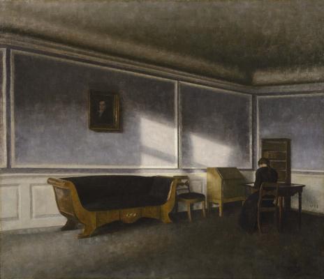 Vilhelm Hammershøi. Sunlight on the living room wall