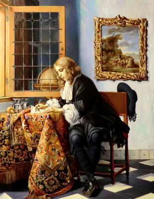 Valery Vasilyevich Litvinov. Young man writing a letter (copy Metsu)