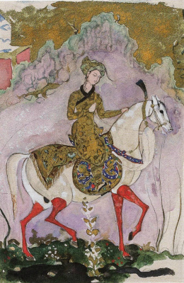 """Prince. Sketch the shapes for the Central part of curtain for the ballet """"Scheherazade"""""""