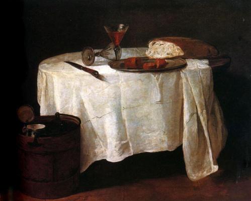 Жан Батист Симеон Шарден. Кусок хлеба и два бокала на круглом столе