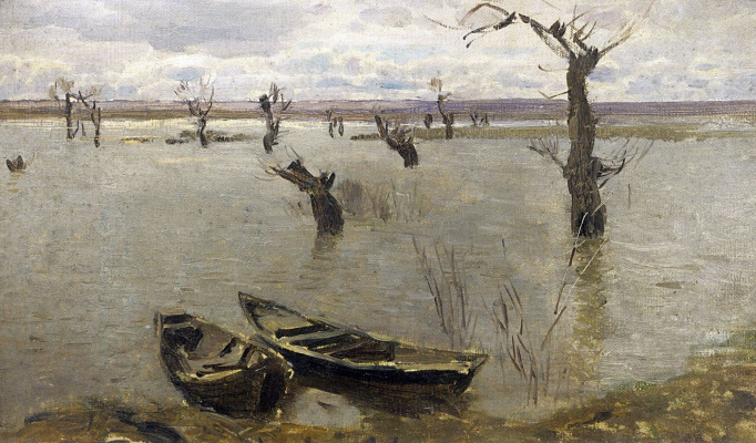"Isaac Levitan. Spill. A sketch for the painting ""the Spill on the Sur"""