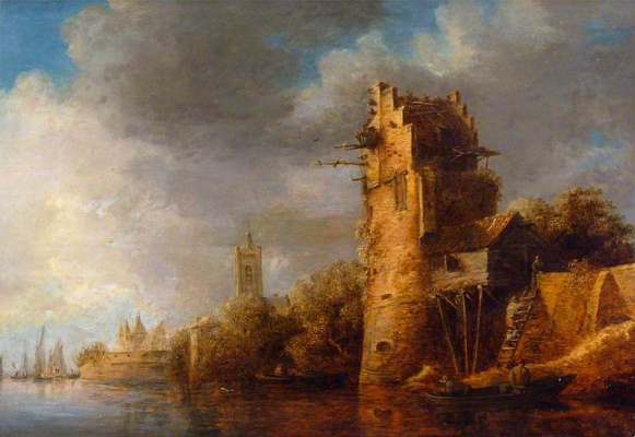 Jan van Goyen. Tower on the coast of the river