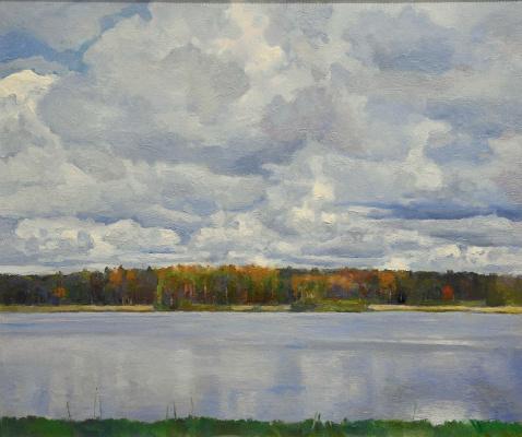 Oleg Borisovich Zakharov. Clouds over the Volga. Okhotino.