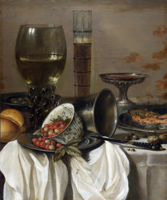 Peter Class. Still life with strawberries and glasses for drinks