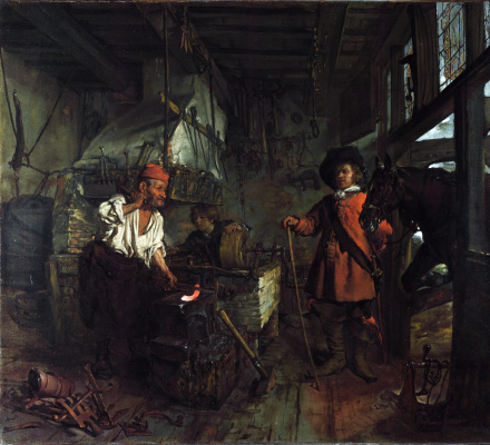 Gabrielle Metsu. Rider visiting the forge