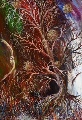 "Alla Struchayeva. Painting ""Flight in the Night"""