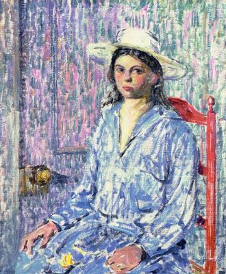 Чарльз Эберт. Сидящая девушка в шляпе