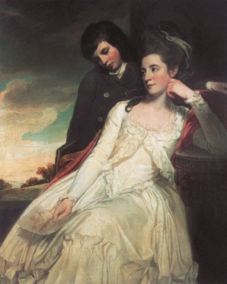 George Romney. Portrait of Jean Maxwell, Duchess Gordon, with his son Marquis Huntley