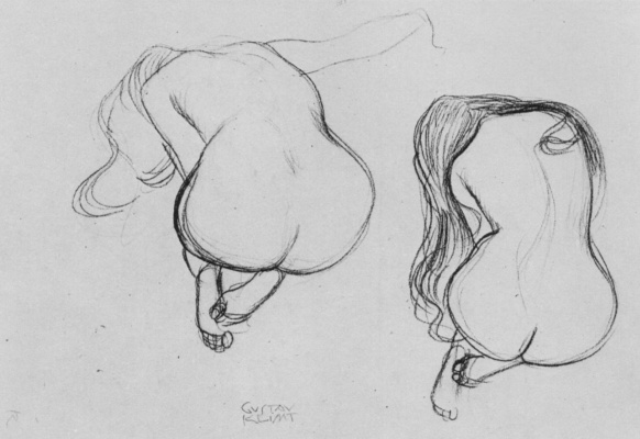 Gustav Klimt. Two sketches sitting on my knees naked with long hair from behind
