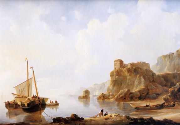Йоханнес Шотел. Корабли на якоре на французском побережье