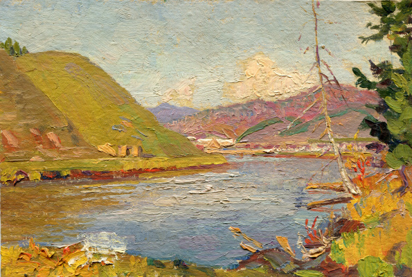 "Vasily Fadeevich Demin. Etude ""Lake in the mountains"""