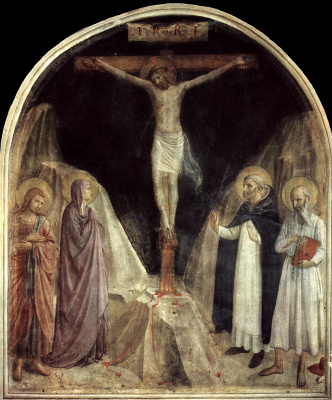 Crucifixion with John the Theologian, Mary, Saints Jerome and Dominic. Fresco of the Monastery of San Marco, Florence