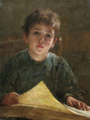 Firs Sergeevich Zhuravlev. The boy with the book. Private collection
