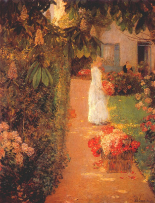 Childe Hassam. Gathering Flowers in a French Garden