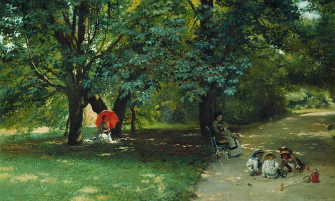 Konstantin Makovsky. In the Park. Depicts the artist's wife Y. P. Makowski, his children and the teacher