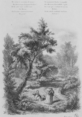 """Charles-Francois Daubigny. Illustrations to the collection """"French folk songs and tunes"""": How many sweet memories... second vignette"""
