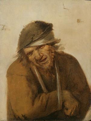 Йос ван Красбек. Гримасничающий крестьянин с подвязанной рукой