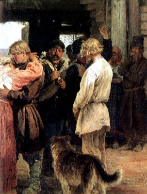Ilya Efimovich Repin. Seeing the rookie. Fragment