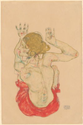 Egon Schiele. Seated Nude in a red skirt from behind