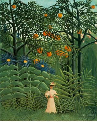Анри Руссо. Женщина идет в экзотический лес