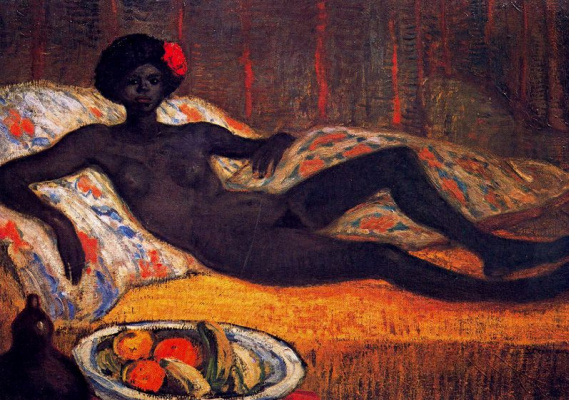 Theophile-Alexander Steinlen. Nude little black girl on the couch