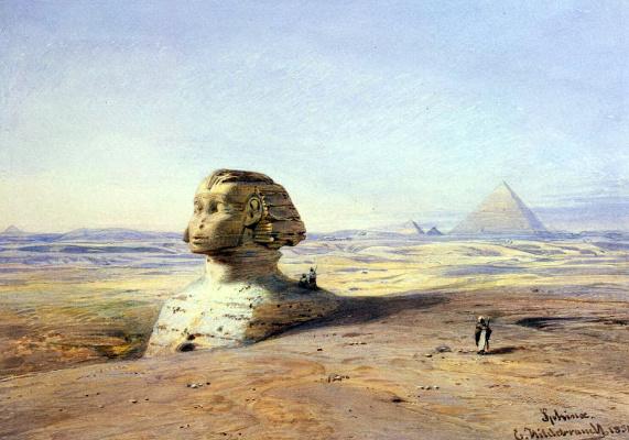 Эдуард Хильдебрандт. Большой сфинкс Гизы на фоне пирамид
