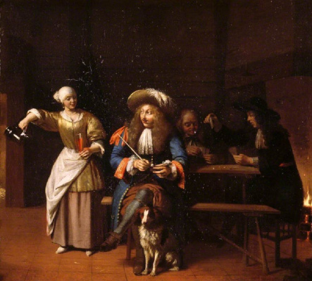 Pieter de Hooch. An empty jug. Scene in the tavern: a man with a pipe, the woman and the card players