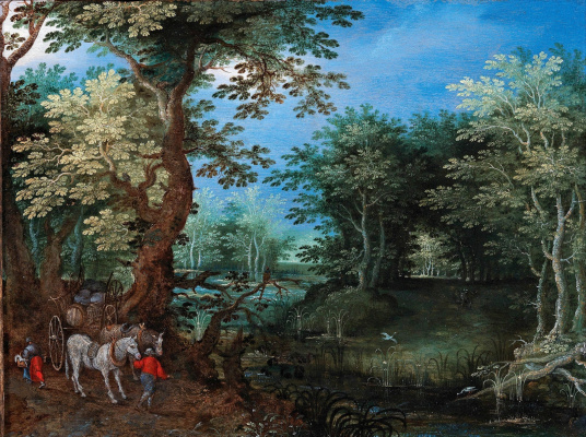 Jan Bruegel The Elder. Forest landscape with a wagon