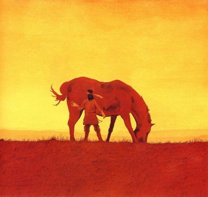 Барри Мозер. Лошадь на закате