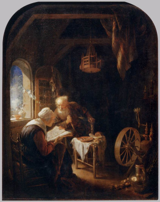 Gerrit (Gerard) Dow. The lesson from the Bible, or Anna and Tobit