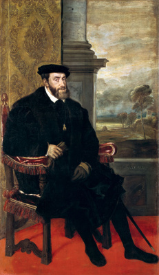 Titian Vecelli. Portrait of Emperor Charles V in the armchair