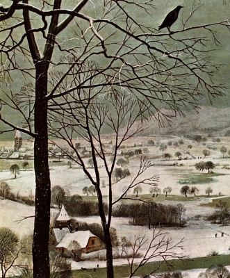Pieter Bruegel The Elder. Hunters in the snow. Fragment 2. Raven