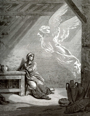 Paul Gustave Dore. Bible Illustration: Annunciation