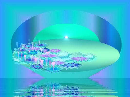 Надежда Гуло. Водные лилиии ночью на водной ряби