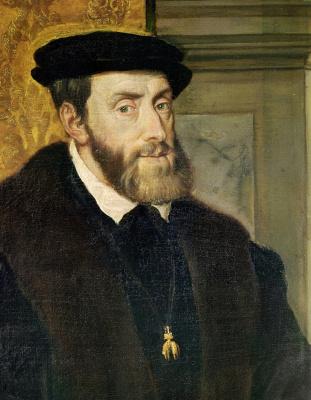 Тициан Вечеллио. Портрет императора Карла V в кресле. Фрагмент