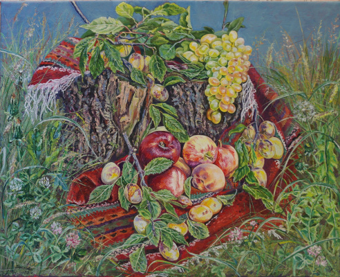 Irina Viktorovna Korotoyakskaya (Dronova). Still life on the grass