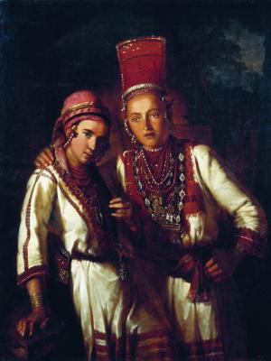 Иван Кузьмич Макаров. Две молодые мордовки. 1842