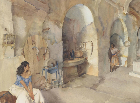 William Russell Flint 1880 - 1969 Scotland. New sickles in Languedoc in southern France.