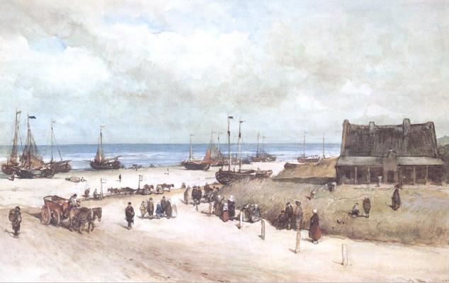 Йоханнес Босбум. Пляжная сцена в Схевенингене