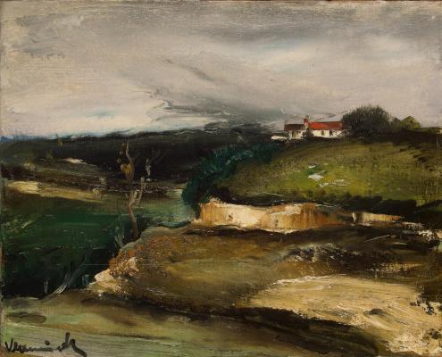 Пейзаж с домом на холме