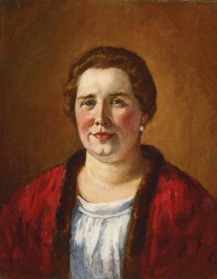 Ilya Ivanovich Mashkov. Portrait of Catherine Ivanovna Kogan in a red cardigan