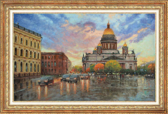 Igor Razzhivin. St. Isaac's square in sunset light