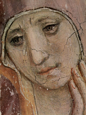 Fra Beato Angelico. The mockery of Christ, fragment: Grieving Mary. Fresco of the Monastery of San Marco, Florence