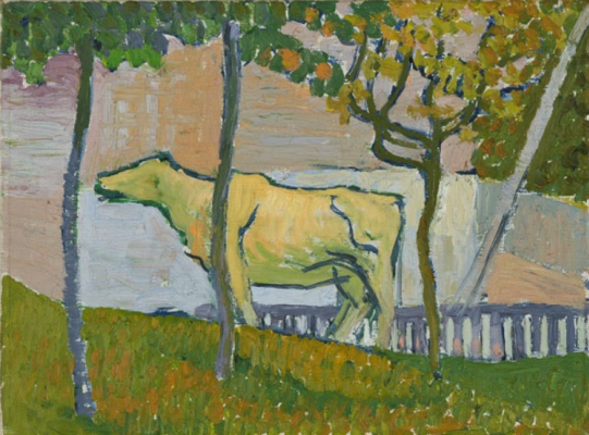 Giovanni Giacometti. Landscape with a grazing cow in a Stamp
