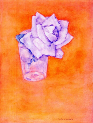 Piet Mondrian. White rose in a glass