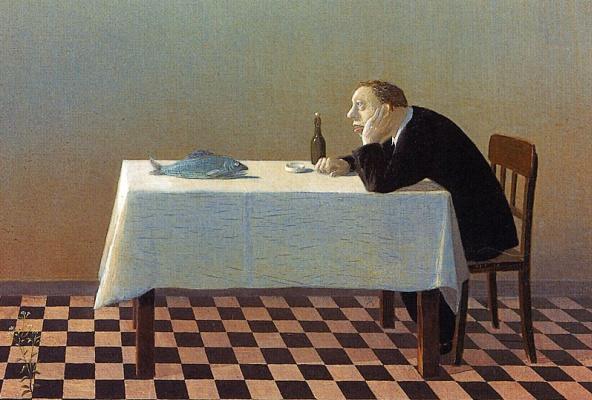 Michael Owl. Man, table, fish