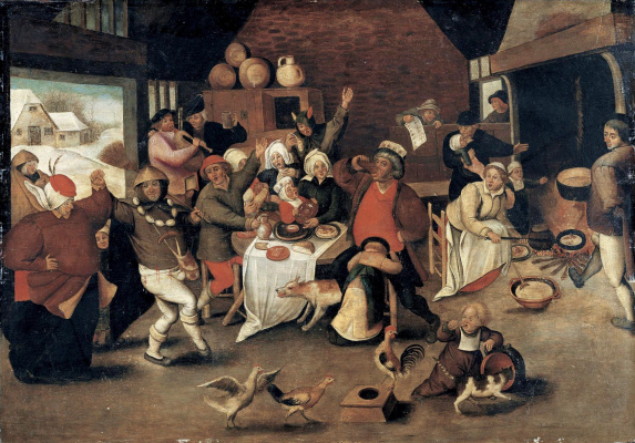 Peter Brueghel The Younger. The king of drunks (the Noisy celebration in the peasant house)