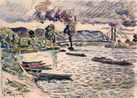 Paul Signac France 1863 - 1935. Suspension bridge in Andeli or Barge and tug on the river. Around 1920